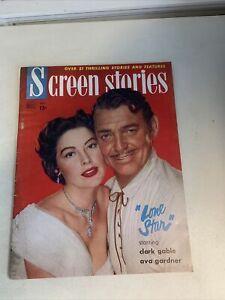 Screen Stories Magazine December 1951 Clark Gable Ava Gardner Advertising