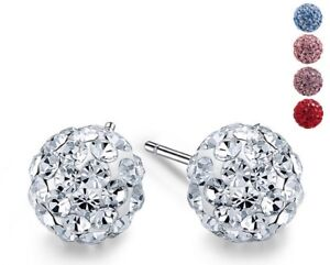 925-Sterling-Silver-Round-Ball-Disco-Crystal-Stud-Earrings-New-Gift-Box