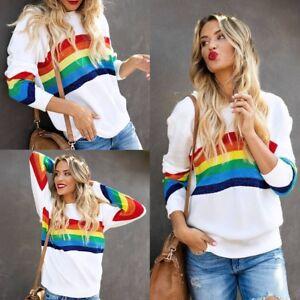 Vogue-Womens-Rainbow-Printed-Shirt-Tops-Tee-Crew-Neck-Long-Sleeve-Casual-T-Shirt