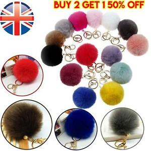 *UK Seller* Faux Rabbit Fur Pom Pom Keyring Bag Charm Soft Fluffy Pendant Pearl
