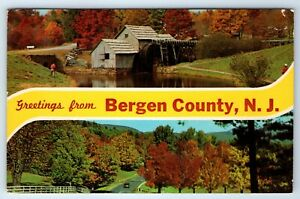 Vintage-Postcard-Banner-Greetings-From-Bergen-County-New-Jersey-NJ