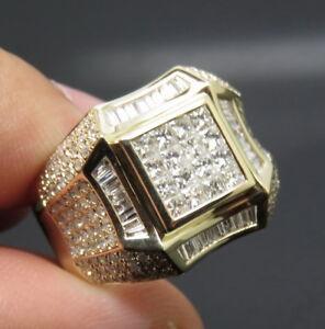 Solid-14K-Yellow-Gold-Natural-VVS-Diamond-Engagement-Wedding-Band-Man-039-s-Ring