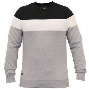 Mens-Sweatshirt-Threadbare-Pullover-Top-Block-Pattern-Fleece-Lined-Winter-New