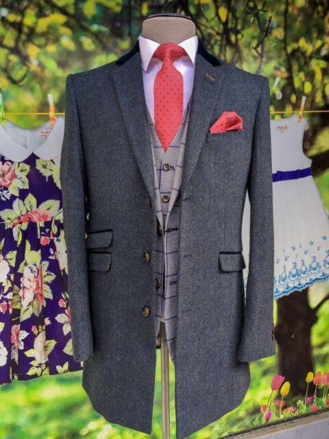 Mens 3//4 Herringbone Tweed Check Crombie Overcoat Peaky Blinders Slim Fit