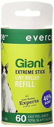 Evercare Giant Pet Hair and Lint Roller Refill, 60 Sheets Roll