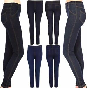 f1e13c024ca Details about Women Stretchy Denim Look Jeggings Legging Ladies Full Length  Skinny Denim Jeans