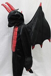 Dragon-Demon-Monster-Black-Red-GoT-Costume-Wings-Head-Halloween-Kids-NEW