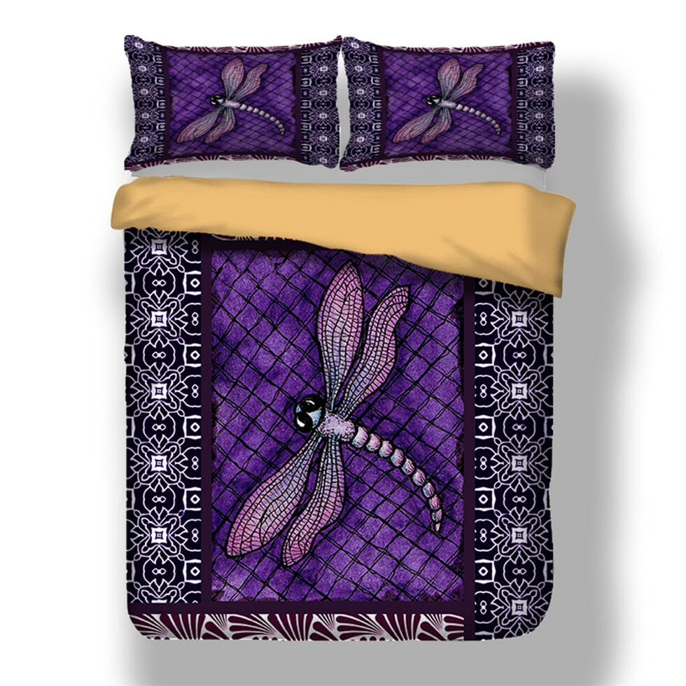 Purple Dragonfly Duvet Cover Pillow Case Twin Full Queen King Bedding Set Animal