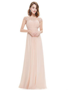 896f3388a9f Details about Elegant Blush Lace Bead Bridesmaid Dress Chiffon Evening  Party Formal Gown 09993