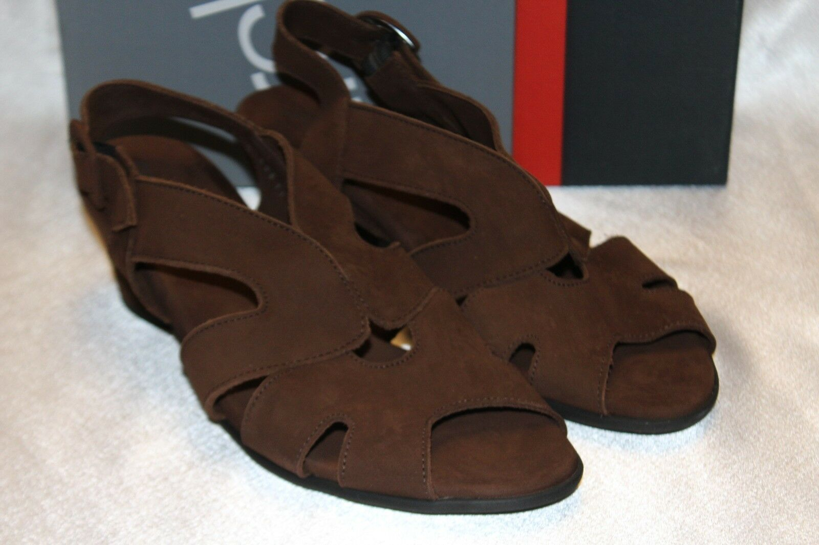 NEW NIB ARCHE Brown Nubuck Suede MOLYKI Heeled Sandals MADE IN FRANCE Sz 10  365