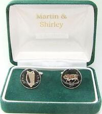 1994 Ireland cufflinks Old Irish 5p coins in Black & Silver