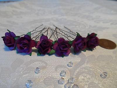 6 CRYSTAL ROSE HAIR PINS GRIPS BRIDAL WEDDING BRIDESMAID 50 COLOURS ACCESSORIES