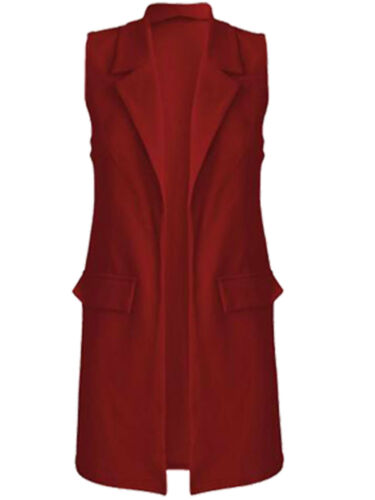 Ladies Sleeveless Duster Coat Blazer Jacket Womens Smart Waistcoat Jacket Top