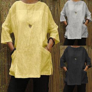 ZANZEA-Oversize-Women-Long-Sleeve-Blouse-Split-Hem-Casual-Plain-Shirt-Tosp-Plus