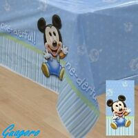 Baby Mickey Mouse 1st Birthday Table Cover Striped Polka Dot Decor Party Supply