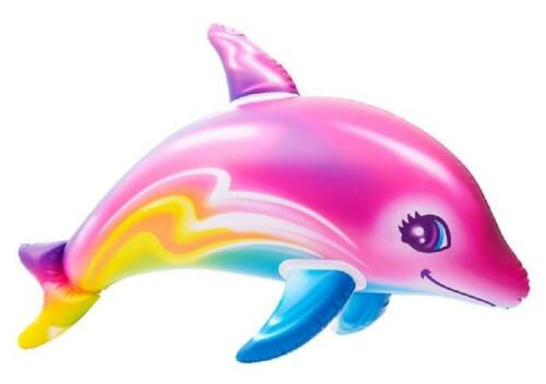 """36/"""" COLORFUL Rainbow Dolphin Inflate Pool Luau Beach Birthday Party Toy"""