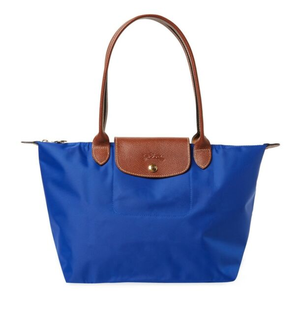 Authentic Longchamp 2605089 Le Pliage Medium Small Nylon Tote Blue ... 27d061a198545