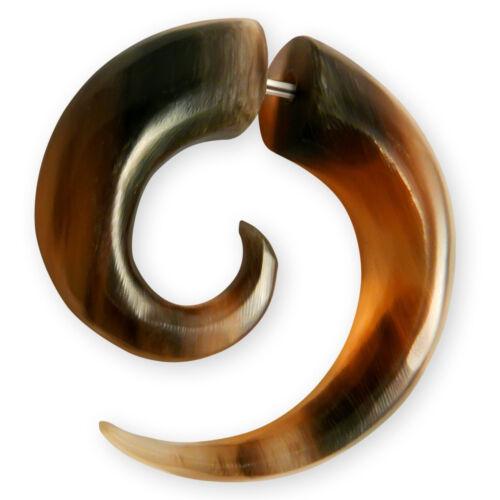 Fake piercing espiral cuerno huesos madera hoz arete negro Weiss túnel Plug