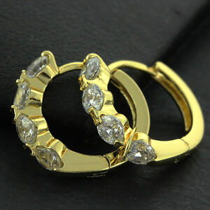 549FSAN749-18K-YELLOW-G-F-GOLD-DIAMOND-SIMULATED-CLASSIC-DESIGN-HOOP-EARRINGS