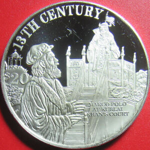 1997-COOK-ISLANDS-20-SILVER-PROOF-MARCO-POLO-AT-KUBLAI-KHAN-COURT-13th-CENTURY