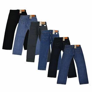 Levis-505-Jeans-Mens-Straight-Fit-Denim-Pants-Casual-Bottoms-Patch-Zipper-Fly