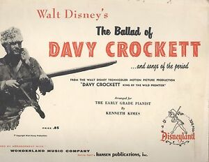 Disney-Ballad-Of-Davy-Crockett-Beginning-Piano-Book-1955-Kimes-Rock-Of-Ages-Folk