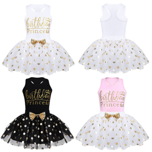 Baby filles Kid Birthday Party Princess Outfit vernissées Pois Tutu Jupe Robe
