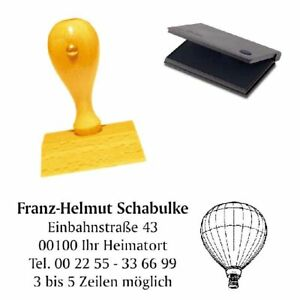 Adressenstempe<wbr/>l « HEISSLUFTBALLO<wbr/>N » mit Kissen - Firmenstempel - Flugsport