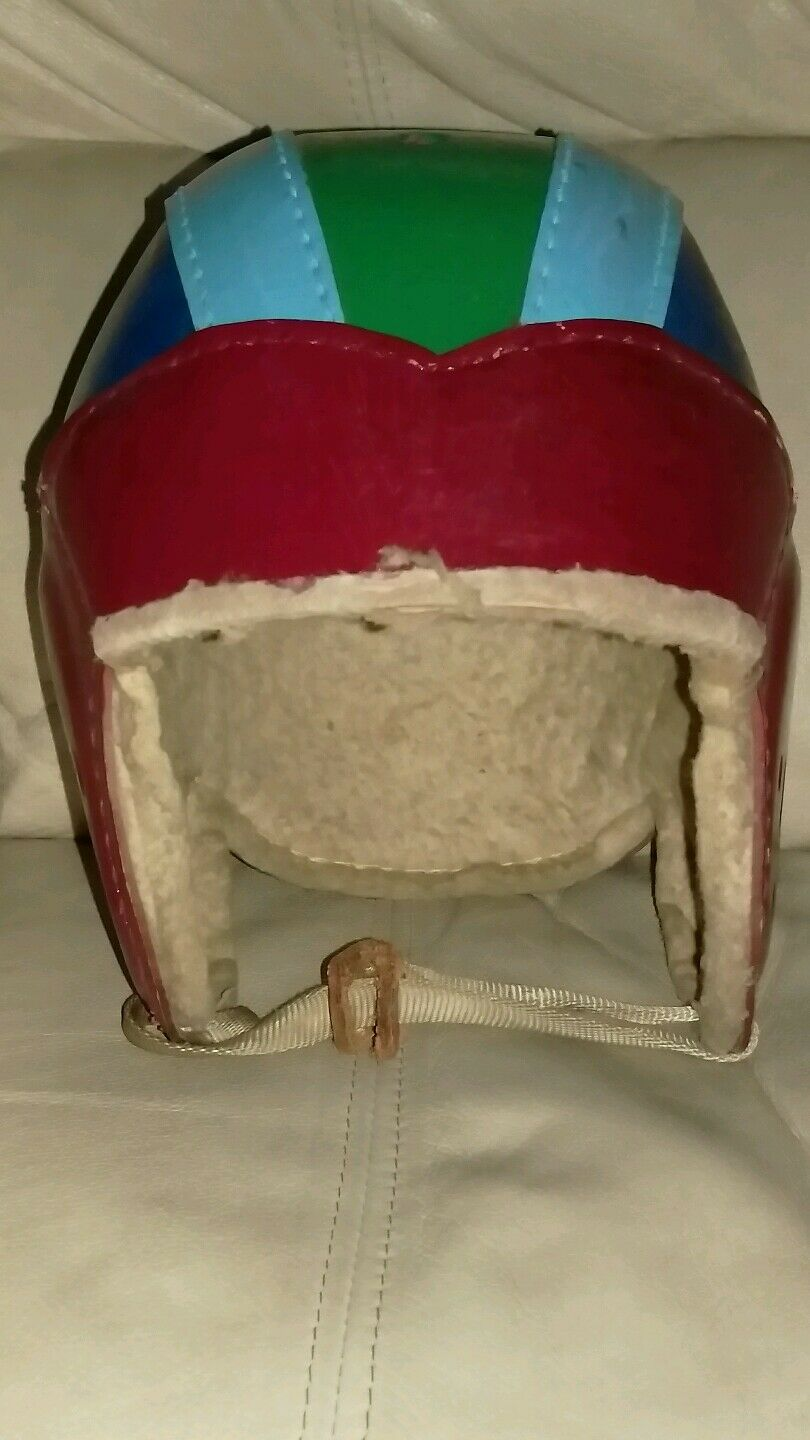 Antique 1940's Very Colorful Football Helmet Old Vintage Pelle Fiber Early