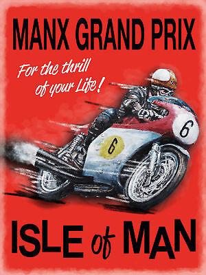 Manx Grand Prix Isle Of Man IOM Motorbike Race TT Large Metal Steel Wall Sign