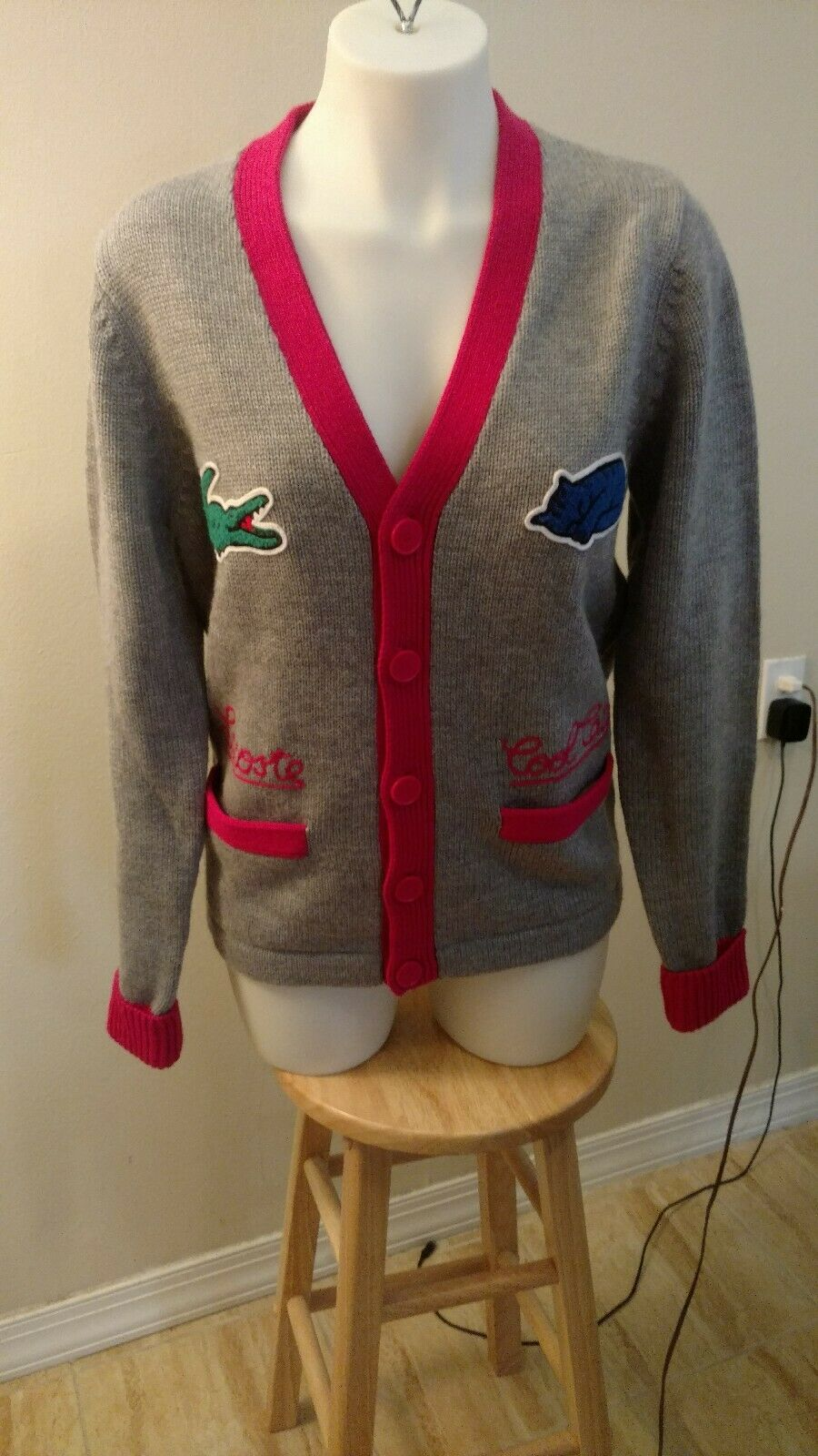 Lacoste Live  Cool Cats Wool Cardigan Sweater Size 3 S Grey RARE