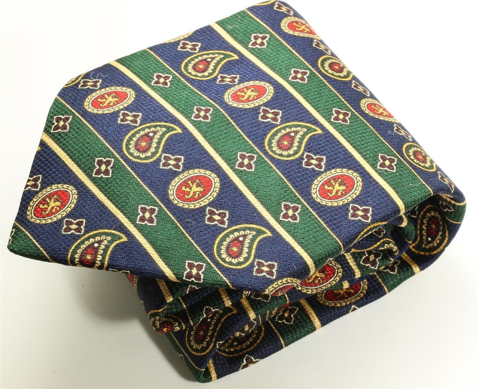 Tommy Hilfiger Blue Green Lion Crests Striped Printed Silk Tie