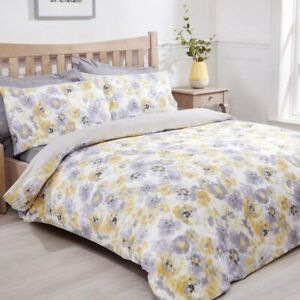 Duvet-Cover-Set-King-Size-Cotton-Bedset-Yellow-Grey-Floral-Ochre-Bedding-Set