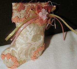 Christmas-Ornament-Cloth-Pink-Stocking-Flower-amp-White-Lace-Fabric-Plush-5-5-034-Bow