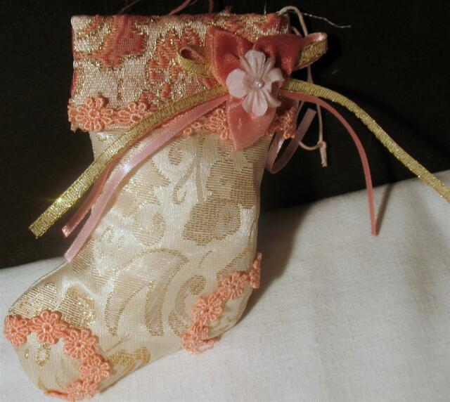Christmas Ornament Cloth Pink Stocking Flower & White Lace Fabric Plush 5.5
