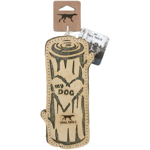 """Tall Tails 9"""" LOVE MY DOG LOG Natural Leather/Wool Dog Toy"""