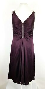 Hobbs-Cocktail-Purple-Pure-Silk-Ruched-Floaty-Occasion-Evening-Dress-UK-12
