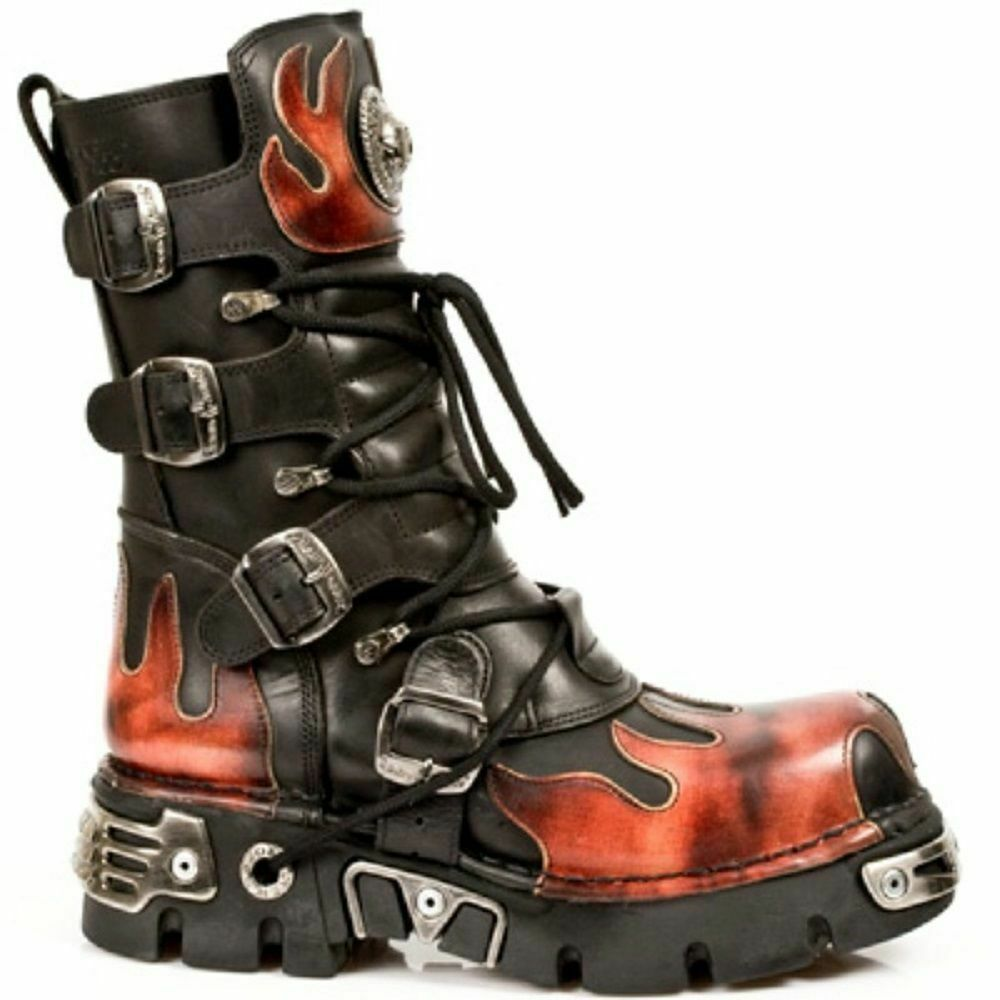 NEW ROCK M 591-S1 BLACK RED FLAME METALLIC LEATHER BOOT BIKER GOTH BOOTS