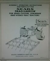 Sears Disc, Spike Tooth, Tote, Rake, Back Blade Garden Tractor Owners (5 Manuals