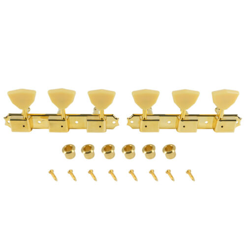Kluson 3X3 Tuners Supro butterfly wing tuning keys in GOLD 3X3 on a plate