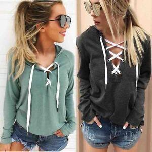 Women-Lace-Up-Casual-Long-Sleeve-Hoodie-Sweatshirt-Jumper-Pullover-Tops-Coats