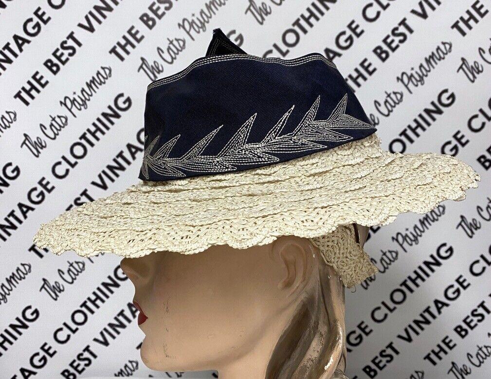 Vtg 1940s Wide Brim Straw Fascinator Hat Embroide… - image 3