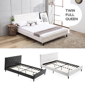 Details about Twin/Full/Queen Bed Frame Platform PU Leather Button Home  Bedroom Furniture