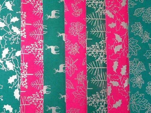 14 Jelly Roll bandes 100/% Coton Patchwork Tissu Noël Rouge//Vert