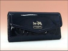 NWT-COACH MADISON COBALT PATENT LEATHER CHECKBOOK WALLET F44571 SV/CT