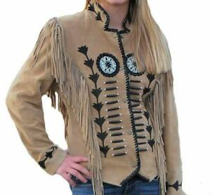 Ladies Tan Western Wear Suede Leather Jacket Fringed Women Suede Leather Jacket