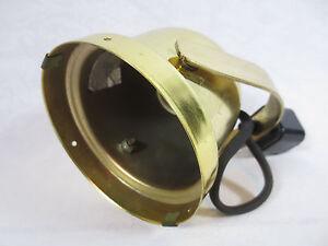 "Antique Swivel BRASS SPOTLIGHT w Ceramic Socket ~2-Sided Electrical Plug 5"" Diam"