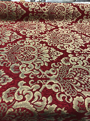"Chenille fabric Damask Jaclyn Ruby 56/"" Wide Upholstery Drapery Sofa sold yard"