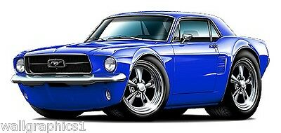 Decal Wall Graphic 1967 Ford Mustang 289 Fastback XL 4ft Long Garage Home Decor
