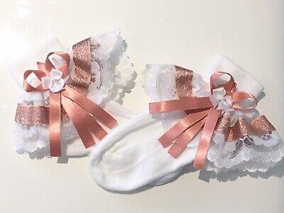 Handmade rainbow /& lace frilly socks baby//girls 6 sizes available